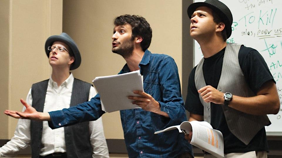 Guildenstern (Jen Drouin), Hamlet (David Bolus), and Rosencrantz (Jonathan Hinnen)