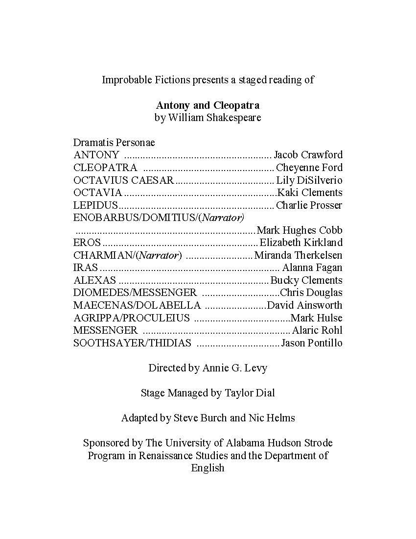 Antony and Cleopatra program 2, 2017